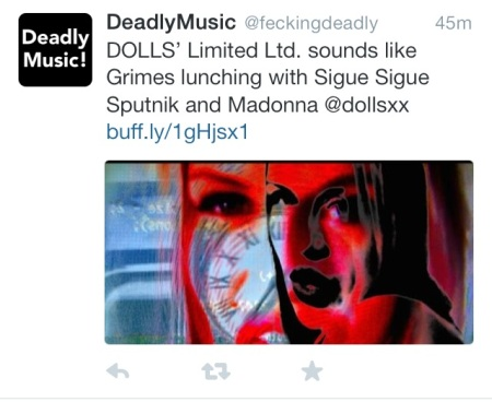 "DEADLY MUSIC says DOLLS' ""Limited LTD"" sounds like Grimes lunching with Sigue Sigue Sputnik and Madonna"